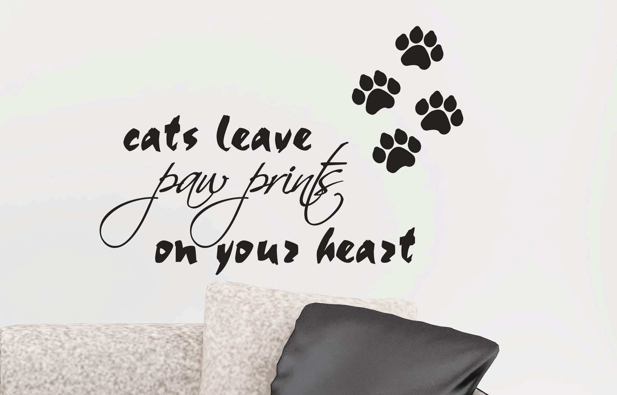 CATS LEAVE PAW PRINTS ON YOUR HEART REMOVABLE ART WALL DECAL VINYL