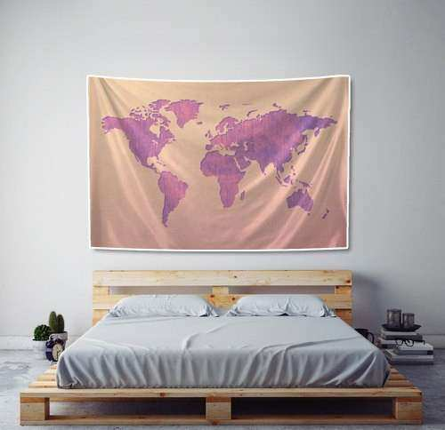 World Map Tapestry Pink and Purple Watercolor Fabric Art Print