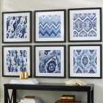 Large Print Fabric for Wall Art Fresh Indigo Ikat Framed Prints