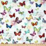Large Print Fabric for Wall Art New Crystalia Digital Print butterfly Opal From Fabricdot
