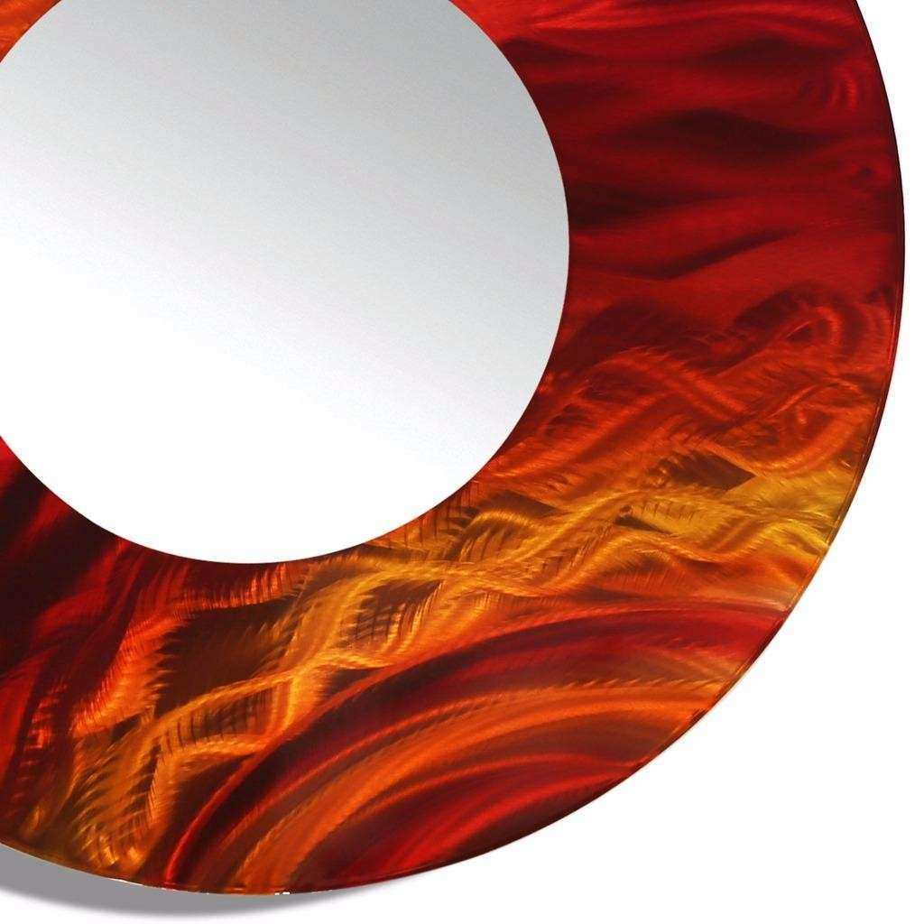 Round Red Metal Wall Art Abstract Mirror Accent Home