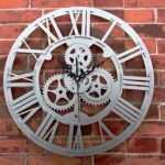 Large Round Metal Wall Art Unique Metal Gears Wall Clock Steampunk Rustic Industrial Copper