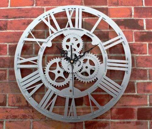 Large Round Metal Wall Art Unique Gears Clock Steampunk Rustic Industrial Copper