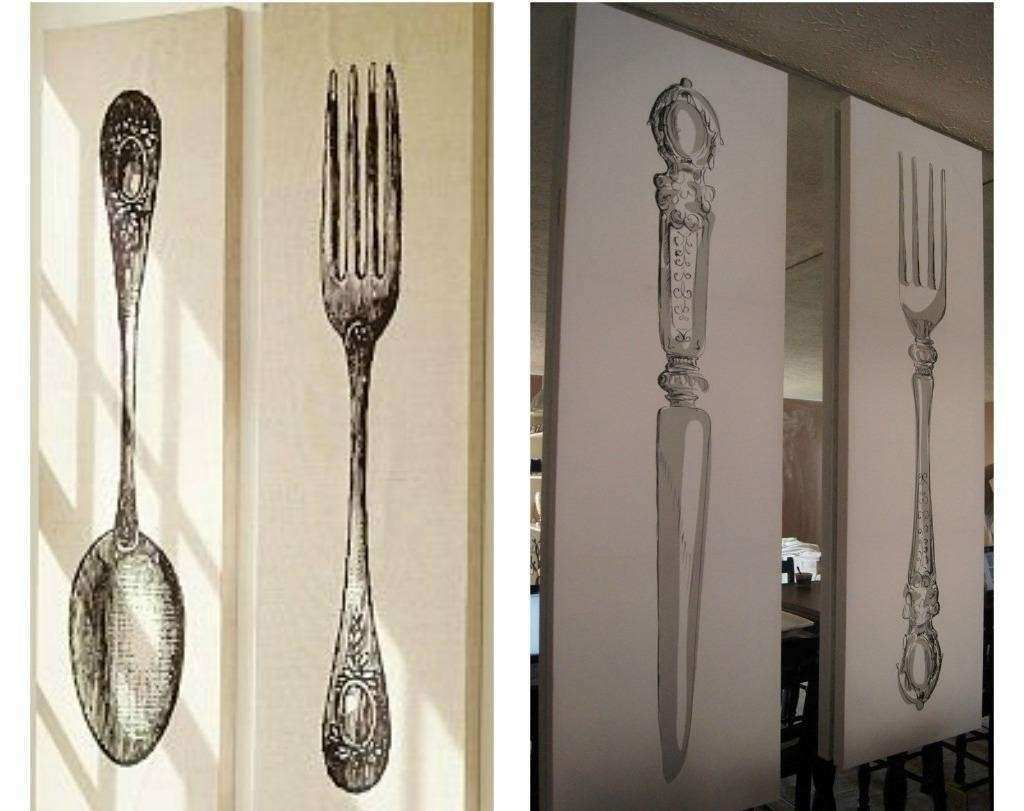 2018 Latest Wooden Fork and Spoon Wall Art