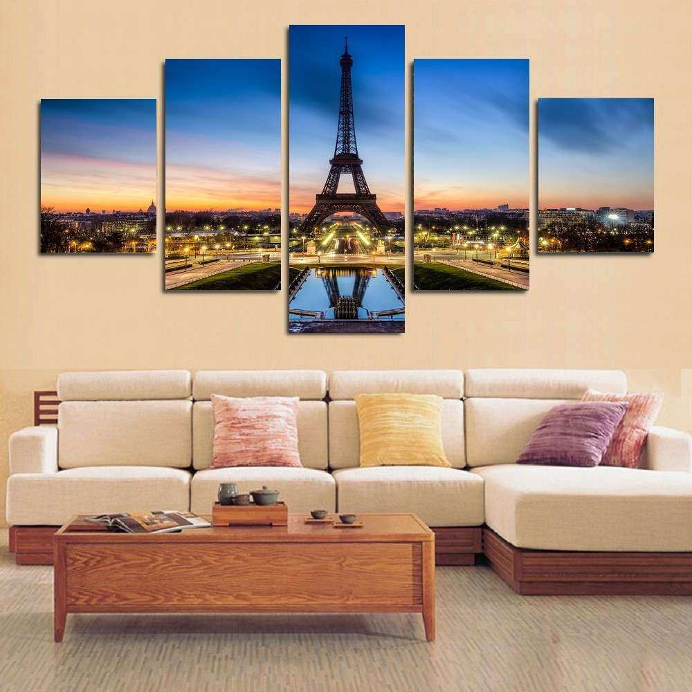 5 Panels Elephant Painting Canvas Wall Art Picture Home