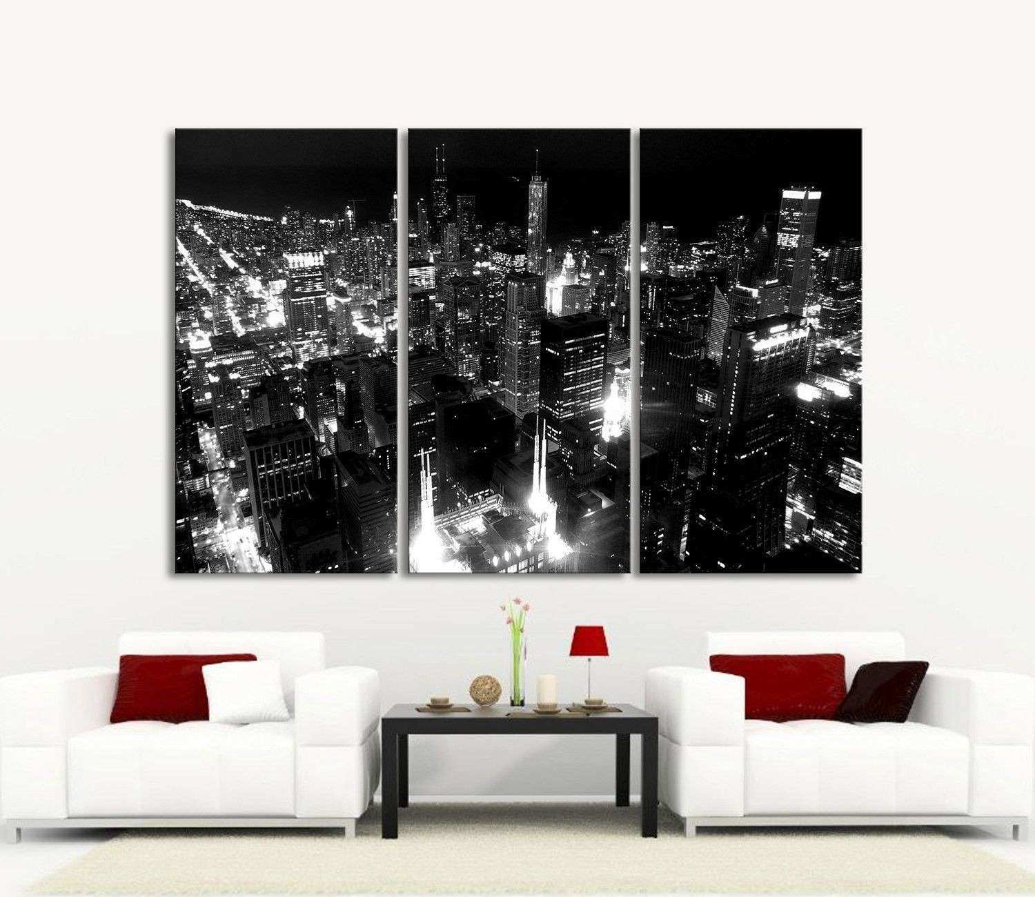 LARGE Wall Art Canvas Print Chicago City Skyline at Night 3 Panel