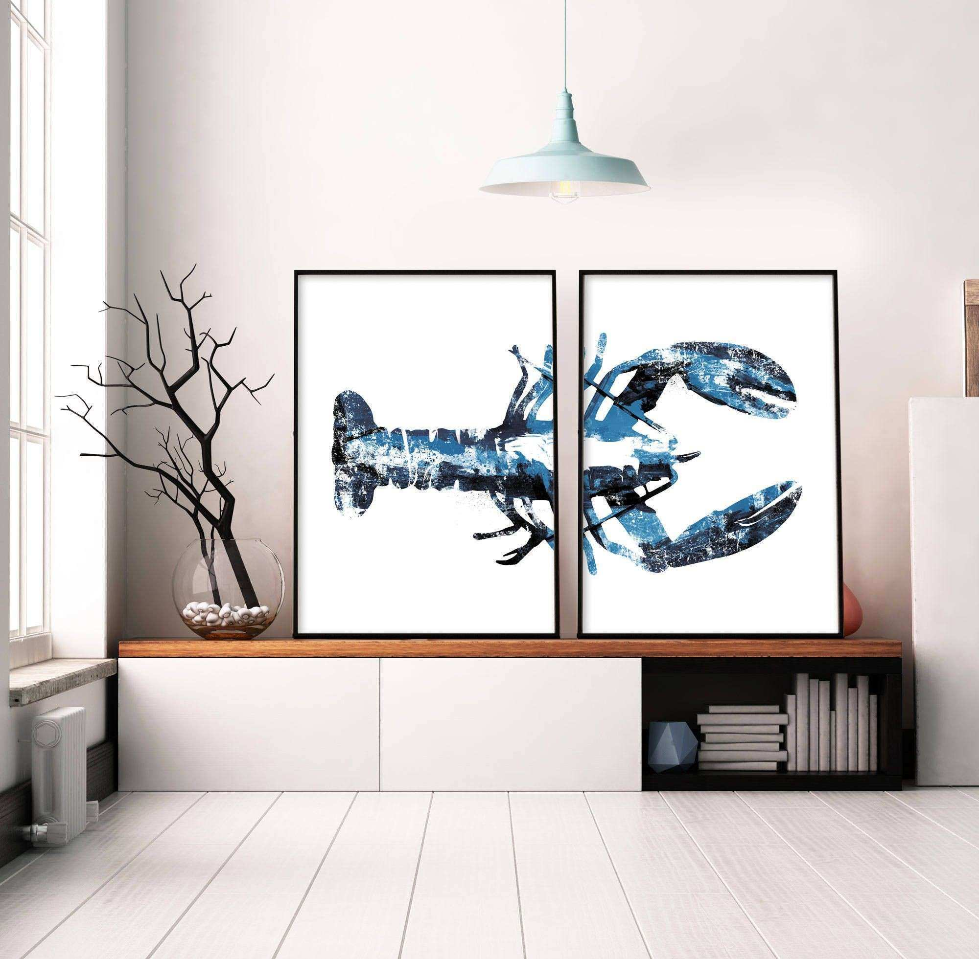 Set of 2 Prints Navy Blue Art Lobster Print Wall Art