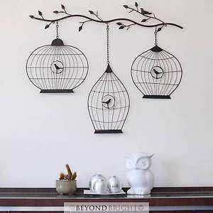 Wrought Iron Metal Wall Art 98cm Vintage BIRDCAGES