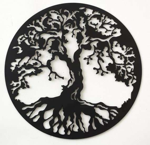 Hand drawn & laser cut metal wall art Tree of Life by