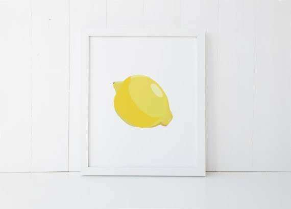 Lemon Print Lemon Printable Lemon Wall Art Kitchen Fruit