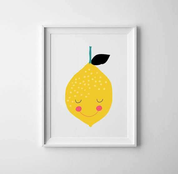 Baby nursery print lemon lemon nursery wall art lemon