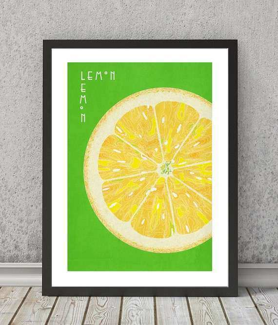 Lemon print Lemon poster Lemon art Lemon wall art Lemon