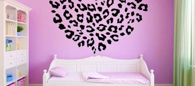 Wonderful Leopard Print Wall Decals Fresh Pink Cheetah Heart Monogram Name Girls Room  Vinyl Wall Decal