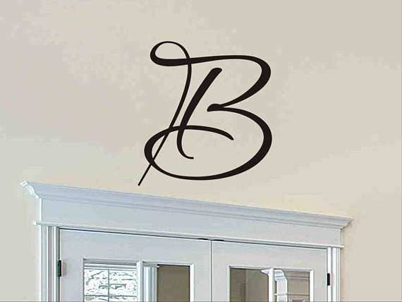 Letter Wall Decor Awesome Single Letter Monogram Decal Wall Sticker Initial Wall Decal & Letter Wall Decor Awesome Single Letter Monogram Decal Wall Sticker ...