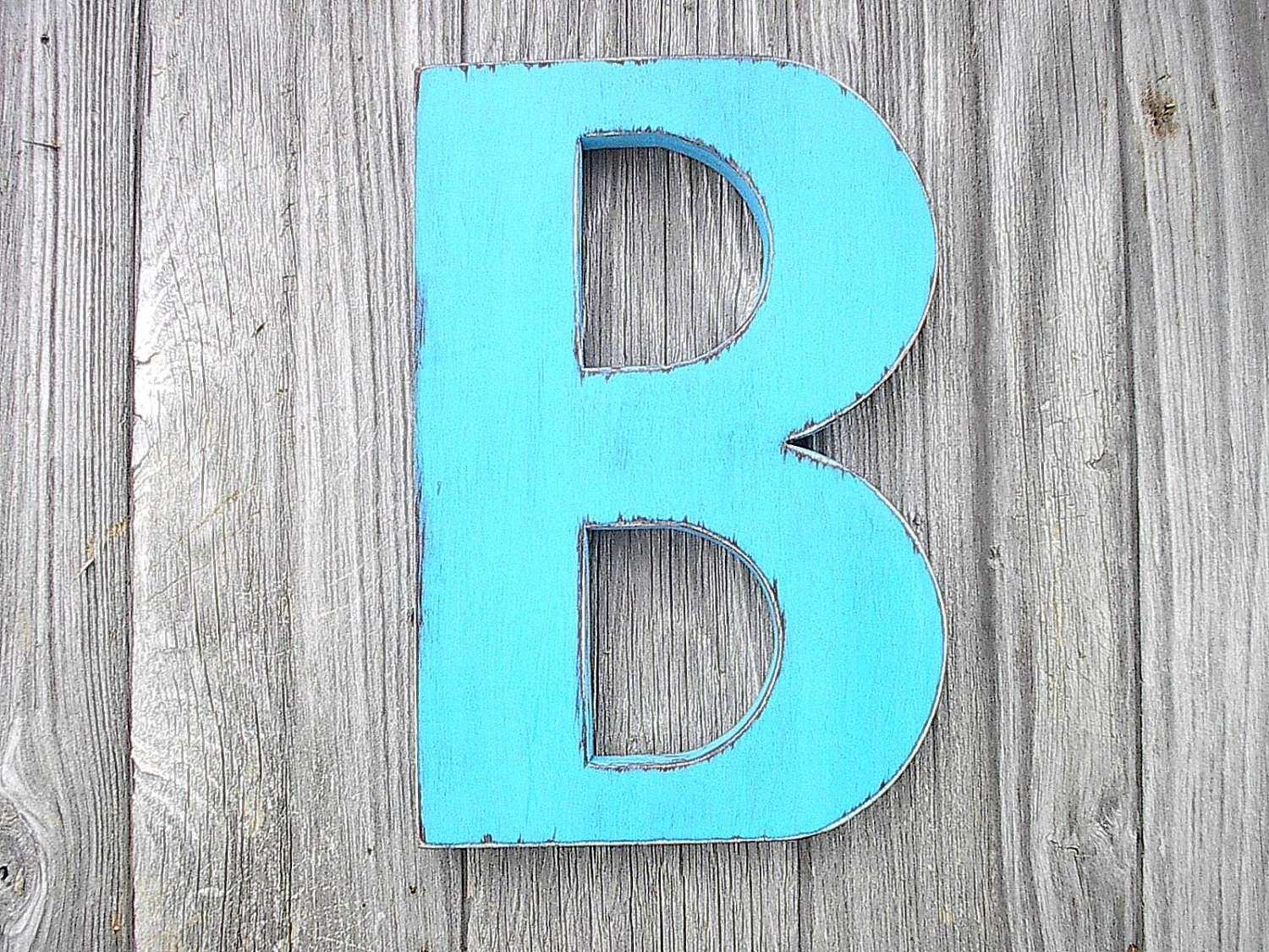 Wooden Wall Decor Shabby Chic Big Letter B Turquoise 12