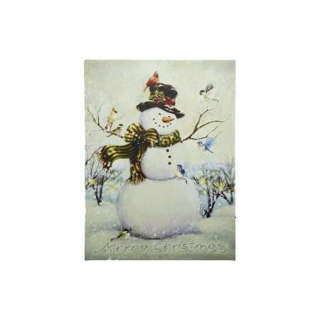 LED Lighted Vintage Inspired Snowman and Bird Friends