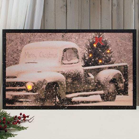 Lighted Merry Christmas Canvas Wall Art Walter Drake