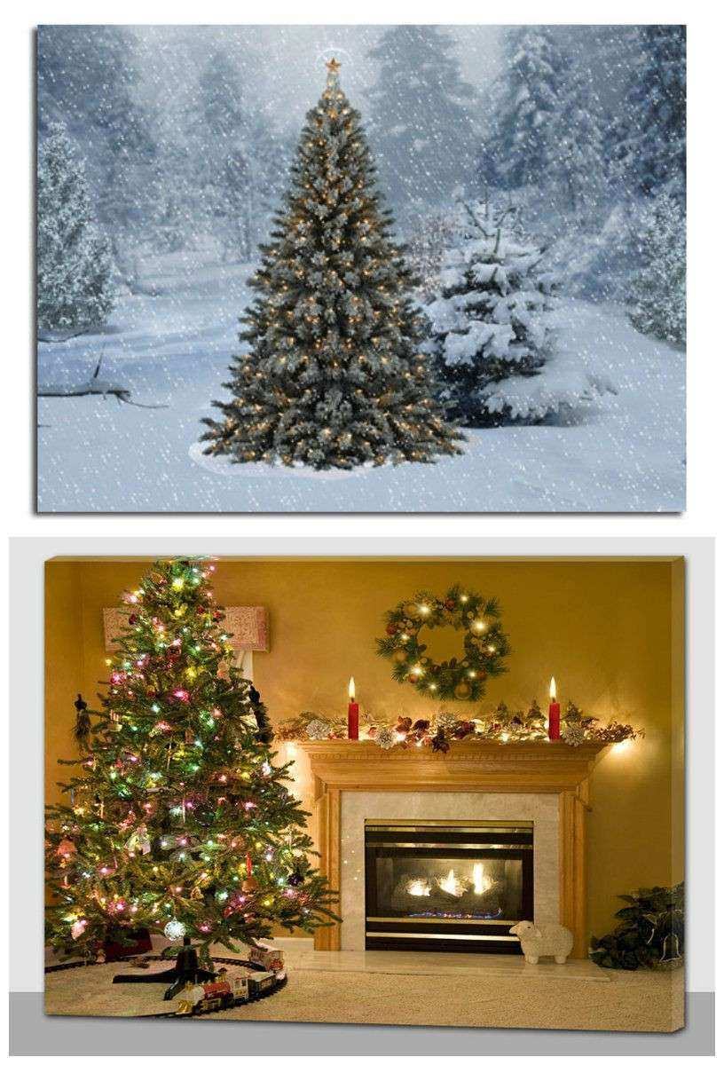 Christmas Decoration Light Up LED Canvas Wall Art Picture