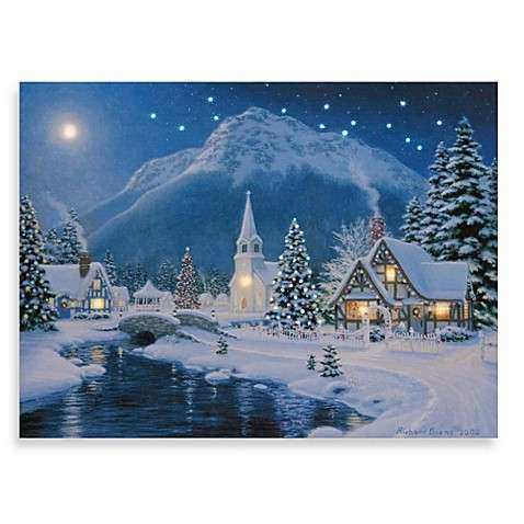 Illuminart Christmas Village Wall Art Bed Bath & Beyond