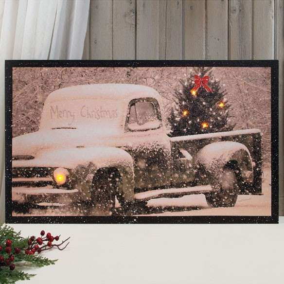 Lighted Merry Christmas Canvas Wall Art Canvas Art