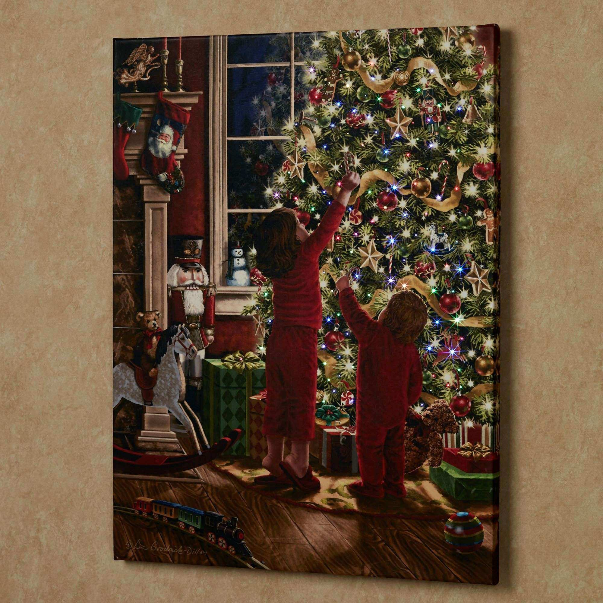 Twinkling Led Canvas Wall Art Christmas battery operated