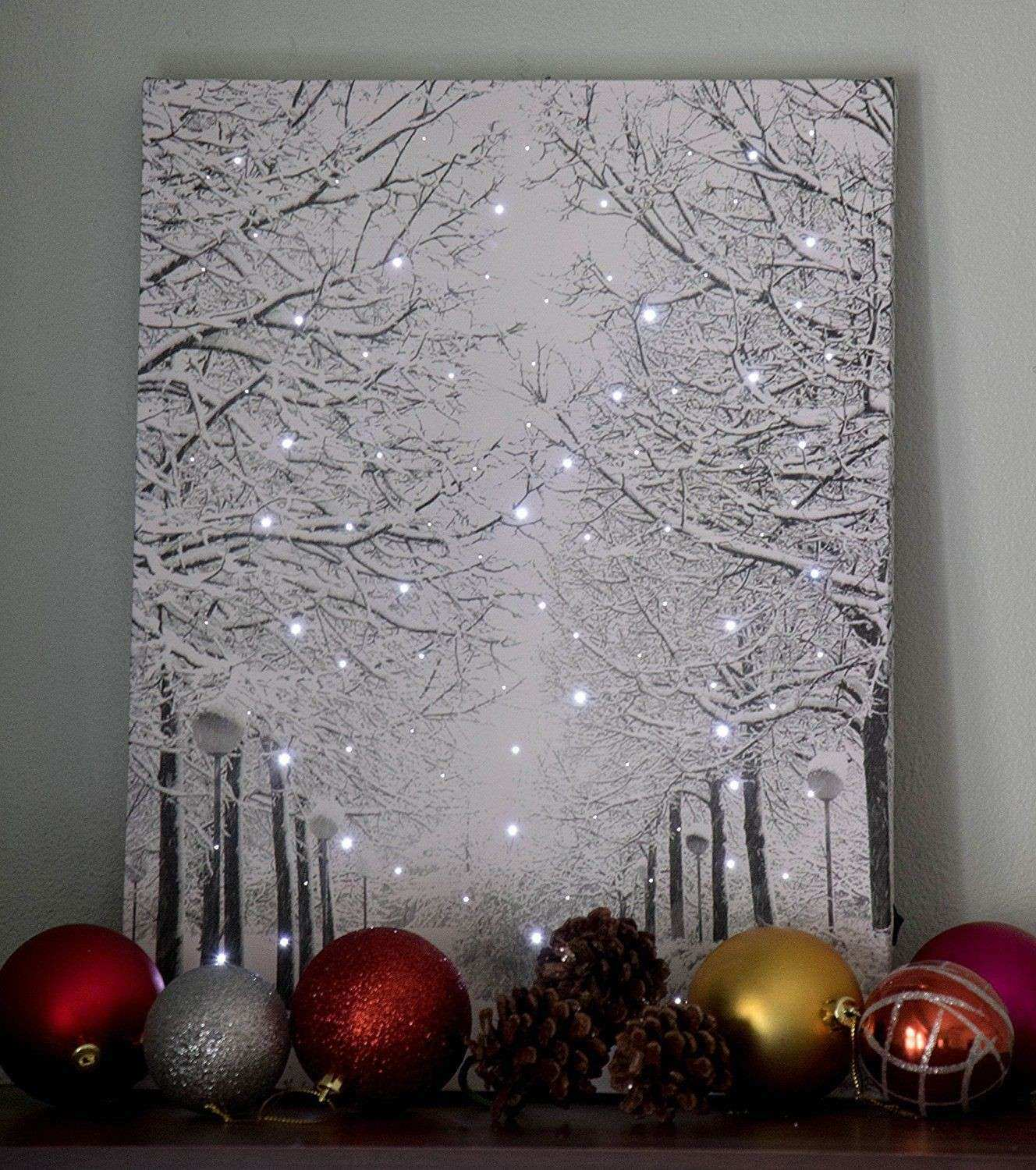 Canvas Lighted Christmas Sparkling Snowy Winter Wall Art