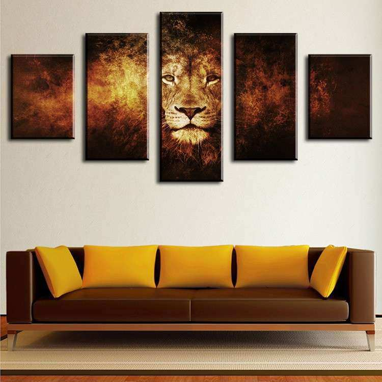 5 Piece lion Modern Home Wall Decor Canvas Picture Art HD