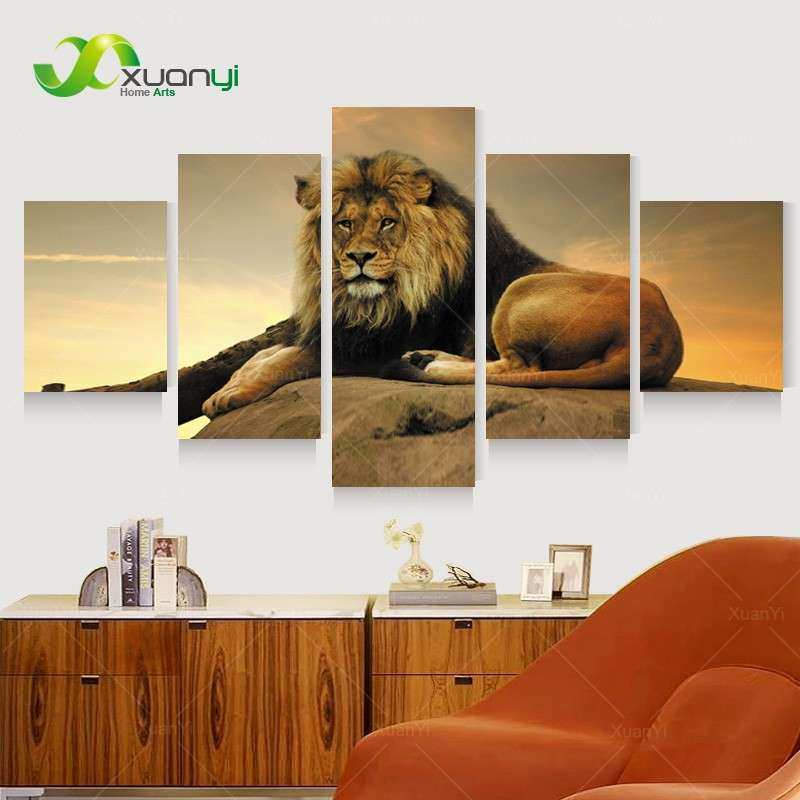 5 Panel Wall Art Lion Painting Canvas Wall Art Picture