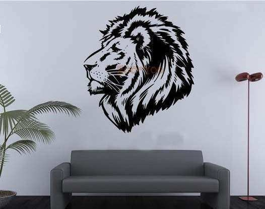 Powerful Lion Head vinyl wall decal bedroom living room
