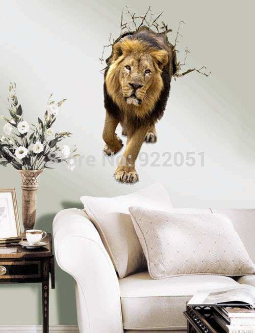 Lion 3D Art Wall Decals Removable PVC Wall stickers or