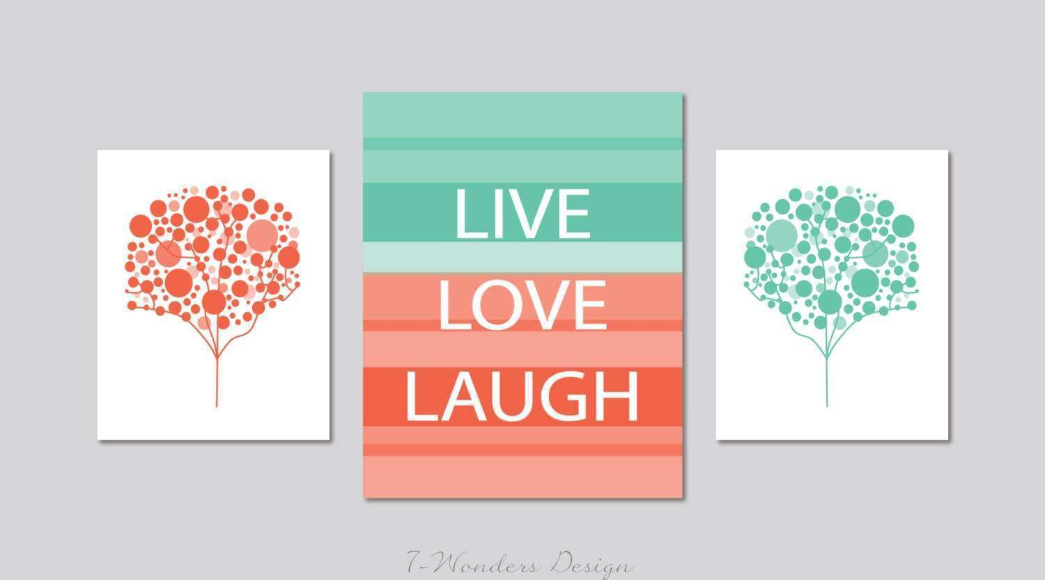 Live Love Laugh Wall Decor and Bubble Trees Wall Art