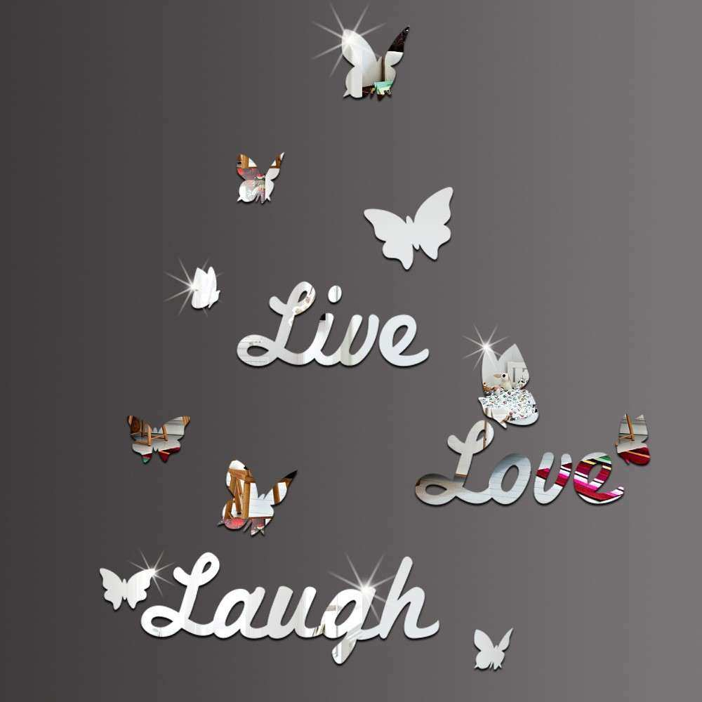 Live Love Laugh Butterfly Diy Quotes Characters Mirror