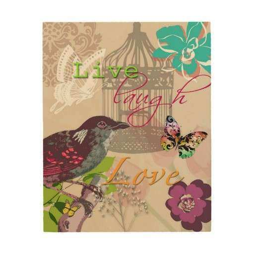 Live Laugh Love Quote Vintage Bird Collage Wood Wall Decor