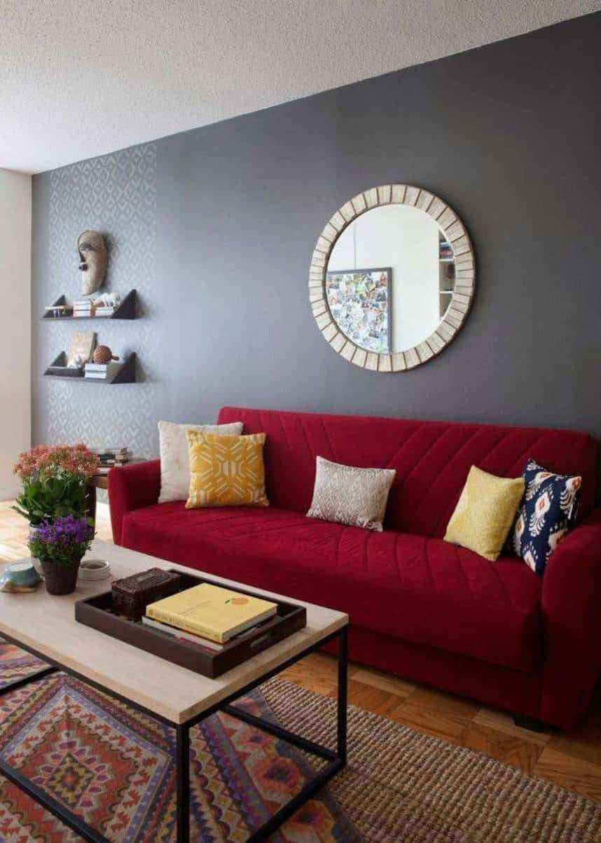 Living Room Decor With Gray Walls Beautiful Round Mirror And Red Sofa