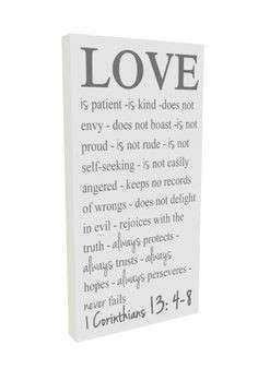 Love is patient love is kind Faith Hope Love Sign 1