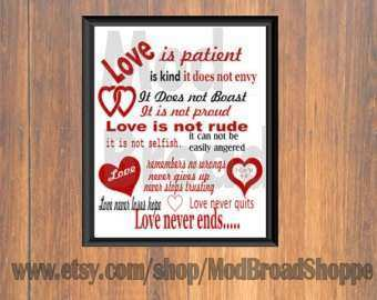 Items similar to Love is patient love is kind wall