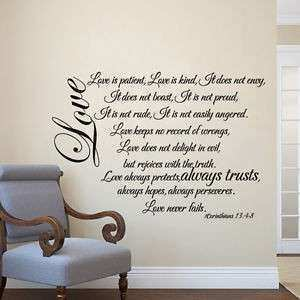 Family Inspired Wall Decal Love Is Patient Quote Bible