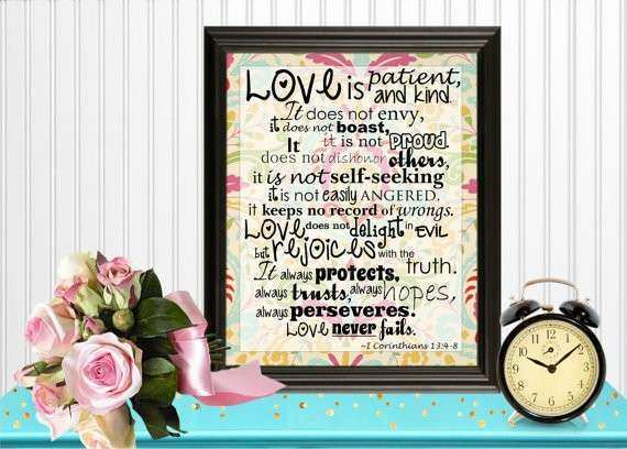 Items similar to Love is Patient Wall Art Digital
