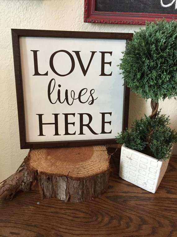 Love Lives Here Sign Wall Decor Rustic Sign Housewarming