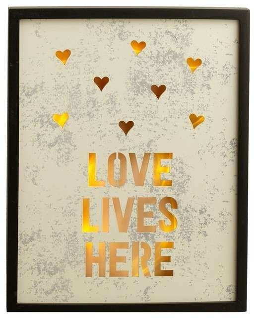 """LED Lighted """"Love Lives Here"""" Wall Decor Contemporary"""