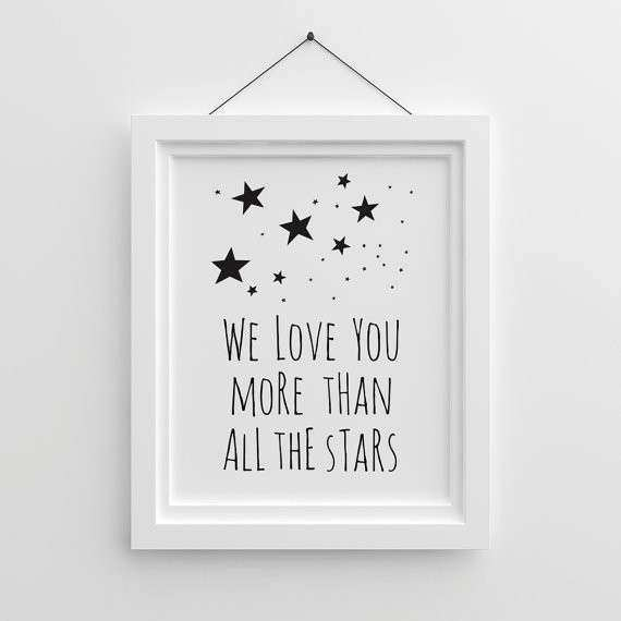 Kids Wall Art We Love You More Than All The Stars Gender