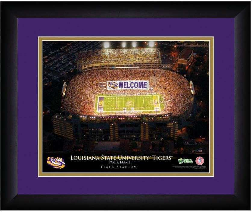 LSU Tigers 13 x 16 Personalized Framed Stadium Print