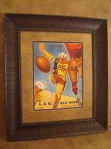 "VINTAGE LSU TIGERS COLLEGE FOOTBALL PROGRAM FRAMED ""LSU VS"