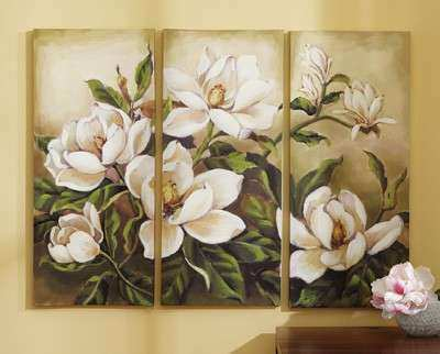 Magnolia Wall Decor Fresh Floral Magnolia Canvas Wall Art 3 Pc From Collections Etc & Magnolia Wall Decor Fresh Floral Magnolia Canvas Wall Art 3 Pc From ...