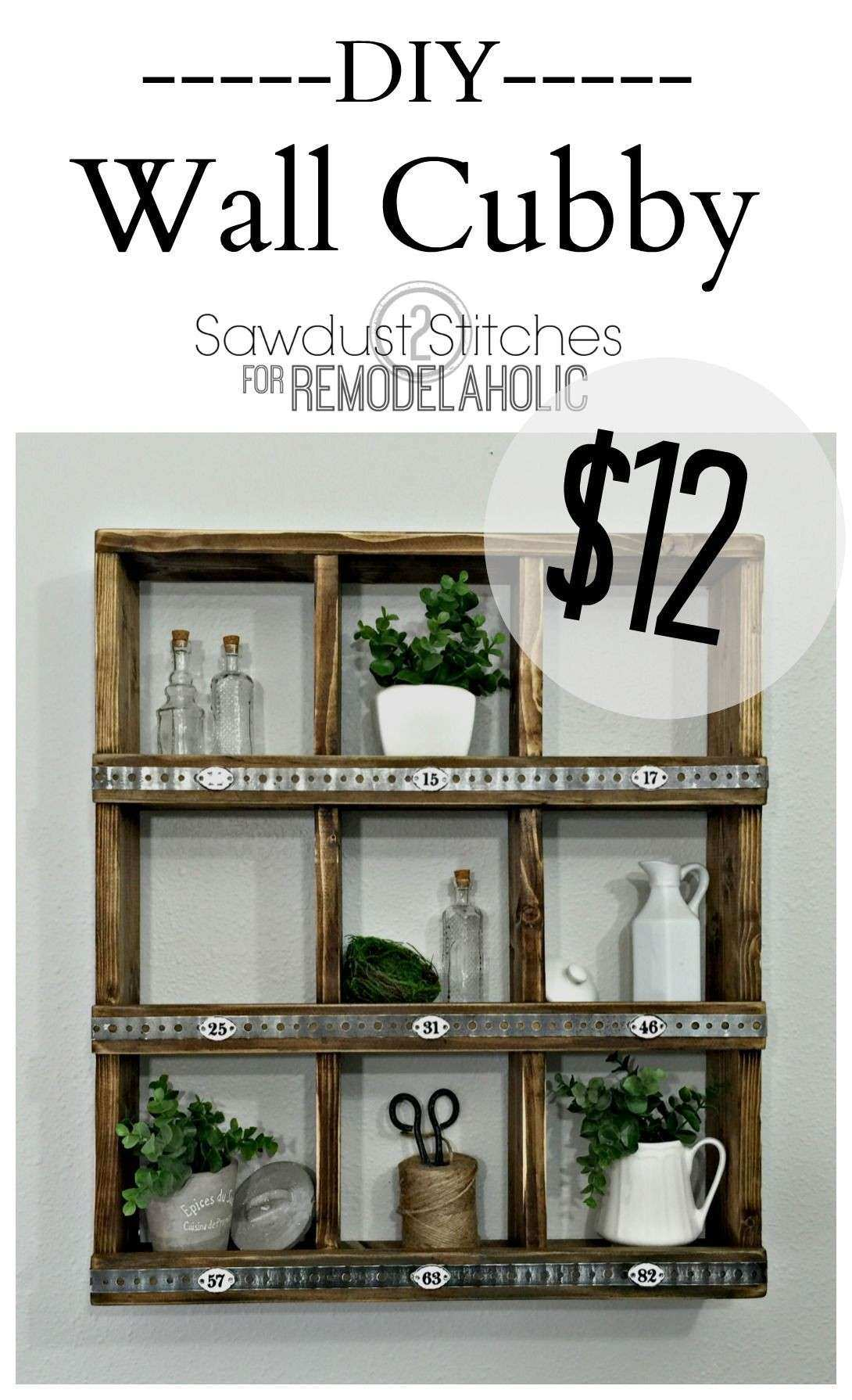 Rustic Wood and Metal DIY Wall Cubby Shelf