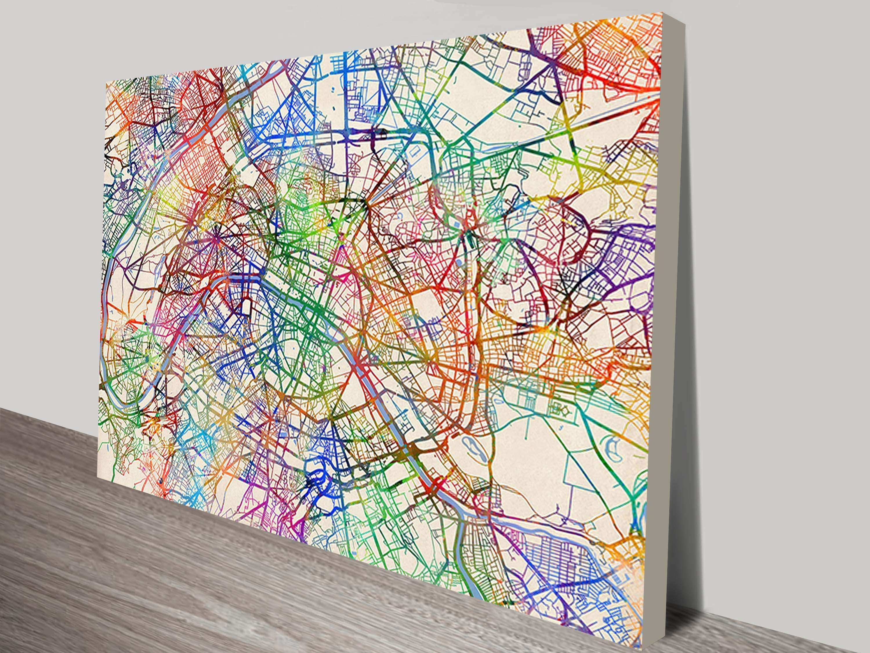 Paris France Street Map Wall Canvas