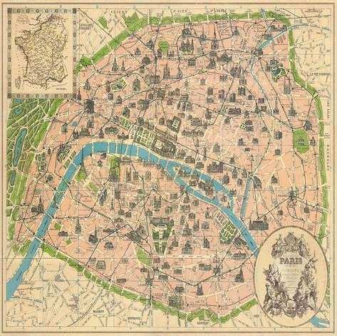 Vintage Paris Map Posters at AllPosters