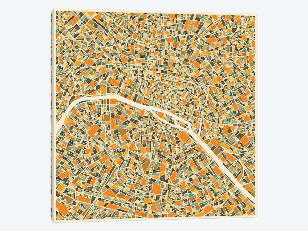 Abstract City Map of Paris Canvas Wall Art by Jazzberry