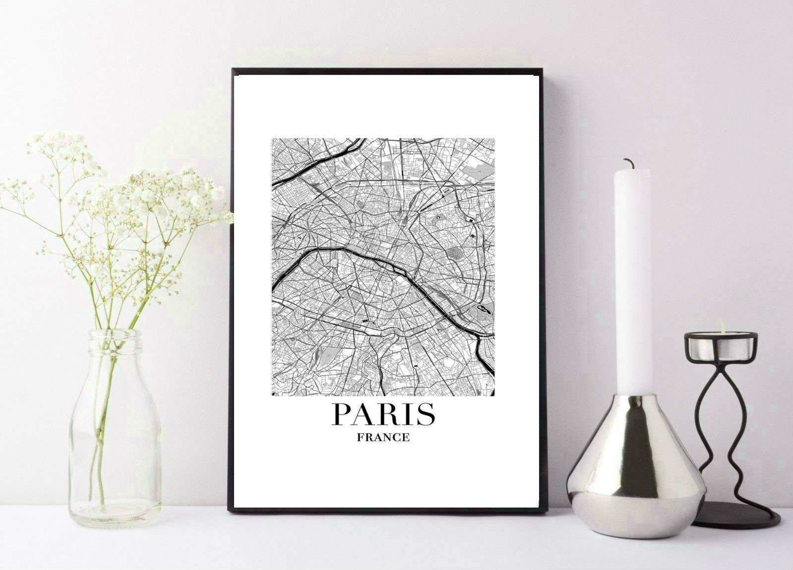 MAP OF Paris black and white print poster wall art £4 50