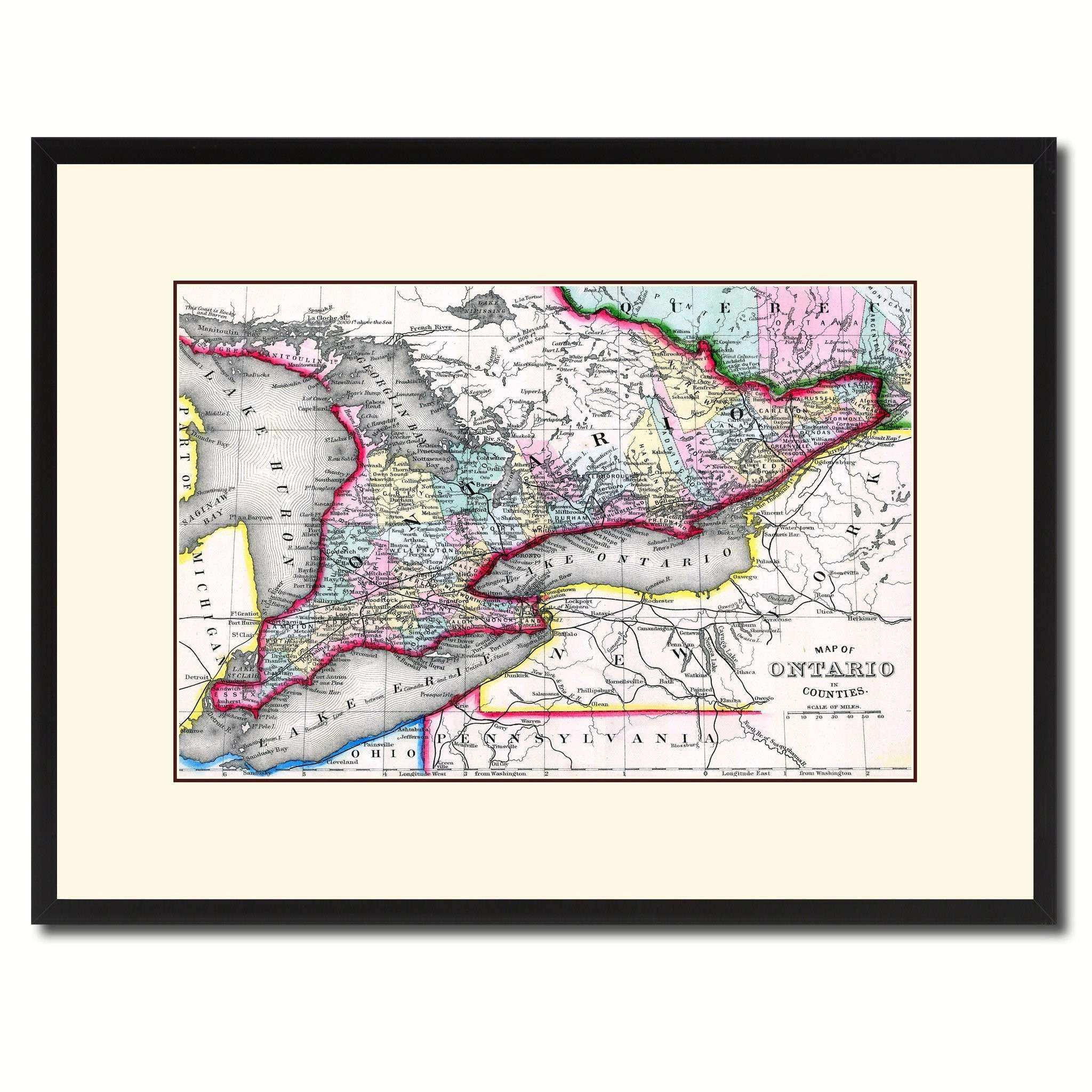 Map Wall Decor Lovely Tario Canada Vintage Antique Map Wall Art Home ...